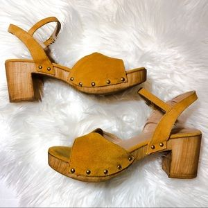 Topshop Shoes - Top Shop Yellow Suede Leather Wooden Clogs